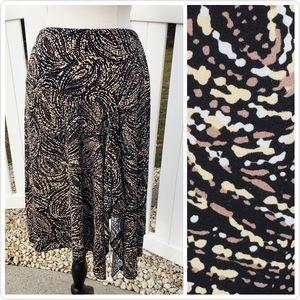 Worthington brown black high-low spring skirt M